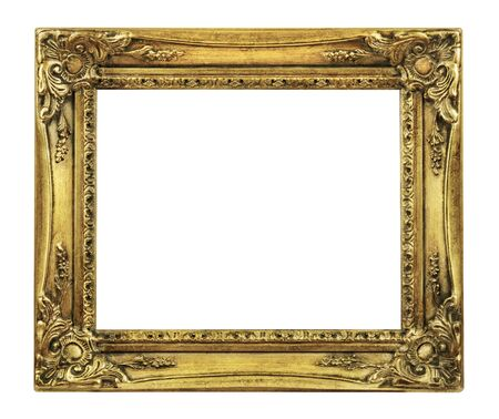 gold frame: Retro Revival Old Gold Picture Frame isolated on a white background? ?