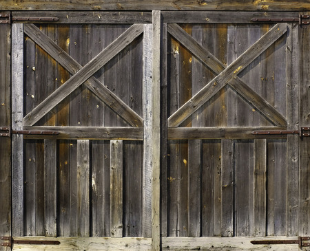 rustic weathered barn door background with knots and nail holes Фото со стока - 60650924