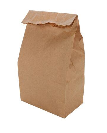 分離した茶色の紙お弁当袋 写真素材