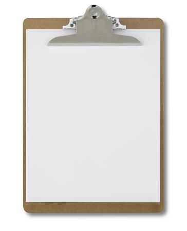 白い背景に分離された空のクリップボード 写真素材