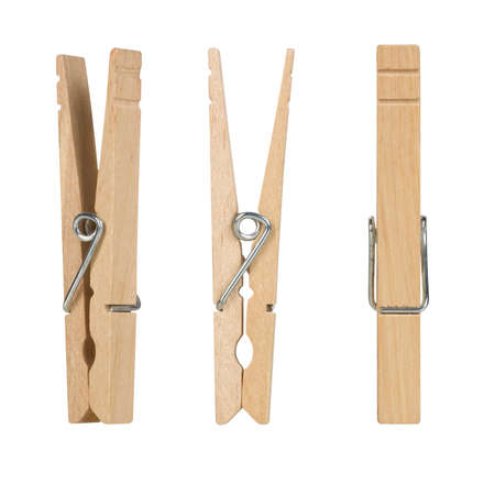 clothes pins: vintage wooden clothes pins isolated on a white background