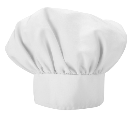 toque blanche: A Chefs hat isolated on a white background Stock Photo