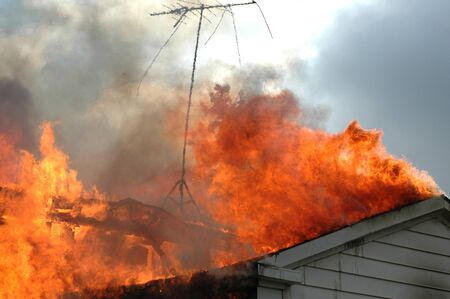 火の家のクローズ アップ 写真素材