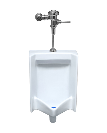 uniformity: Closeup of a white urinal isolated on a white background