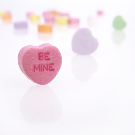 Be Mine Valentine Candy Hearts with copy space