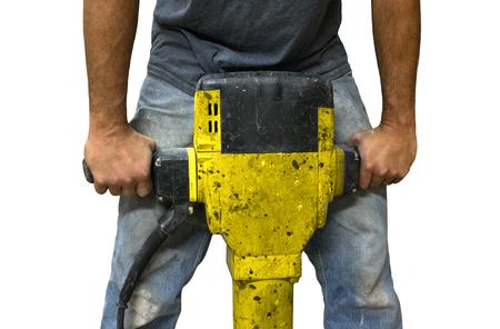 presslufthammer: Mann mit Presslufthammer auf einem wei�en Hintergrund arbeiten isoliert