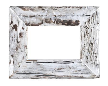 空古い木製ホワイト フレーム白い背景で隔離? 写真素材