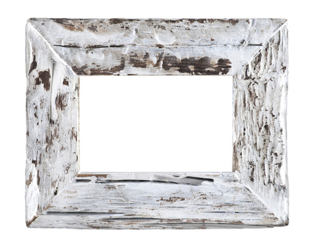 surface level: empty old wood white frame isolated on a white background? Stock Photo