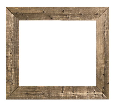 白い背景に分離された空の古い木製のフレーム