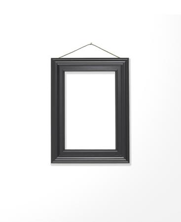 白のギャラリーの壁に黒のフレームを空白 写真素材