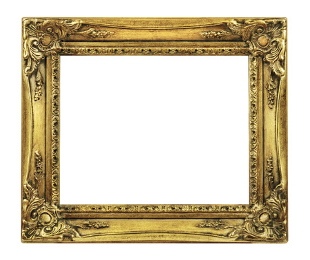 retro revival: Retro Revival Old Gold Picture Frame isolated on a white background?
