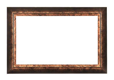 白い背景の分離された黒い金フレーム 写真素材
