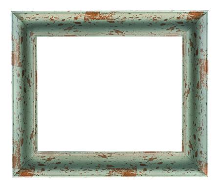 Oude houten rustieke omlijsting die op een witte achtergrond?