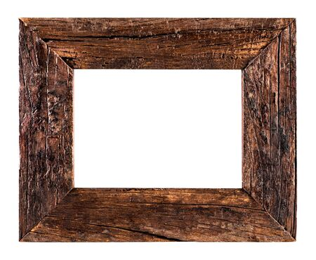 surface level: Old Wooden Frame isolated on a white background