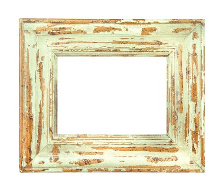 ビンテージは、グリーンとゴールドのフレームが白い背景で隔離の着用 写真素材