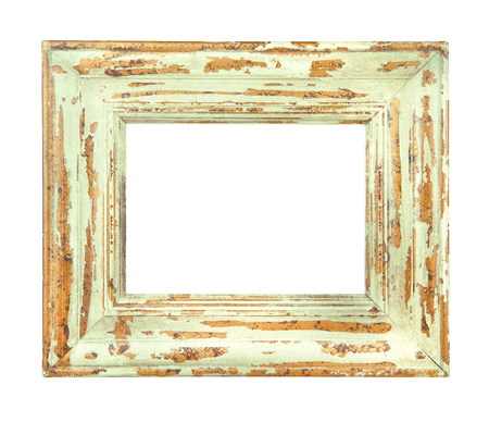 distressed: Vintage worn Green and Gold Frame isolated on a white background