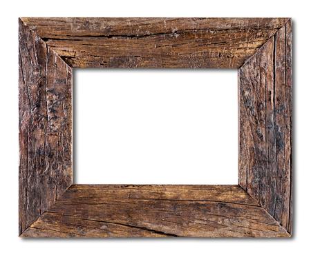 Oud houten frame geïsoleerd op een witte achtergrond Stockfoto