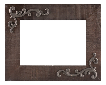 Old wooden rustic picture frame isolated on a white background