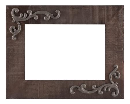 白い背景に分離された古い木製の素朴な写真フレーム 写真素材 - 60651396