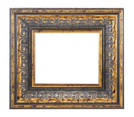 Gold picture frame isolated on a white background 写真素材