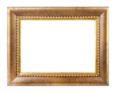 Antique gold frame isolated on a white background 스톡 콘텐츠