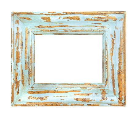 Vintage versleten blauw frame geïsoleerd op een witte achtergrond Stockfoto