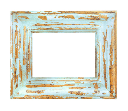 Vintage worn Blue Frame isolated on a white background Фото со стока