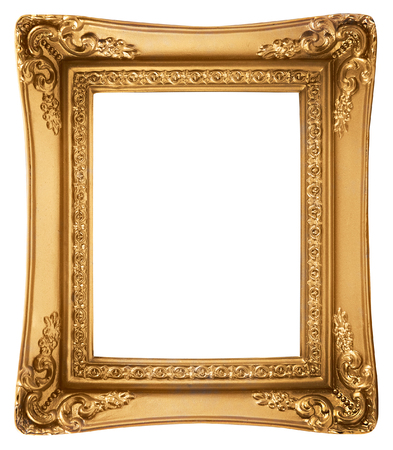 vintage photo: Gold Picture Frame isolated on a white background Stock Photo