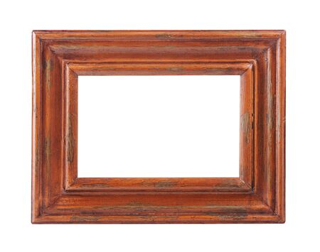Wooden Photo Frame isolated on a white background 스톡 콘텐츠