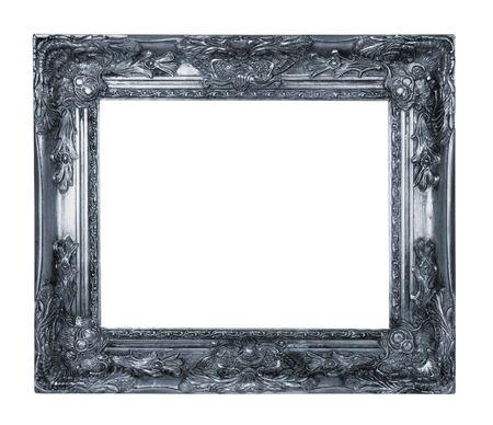 白い背景に分離されたアンティークのシルバー フレーム 写真素材 - 60651475