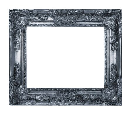 antique silver frame isolated on white background 스톡 콘텐츠
