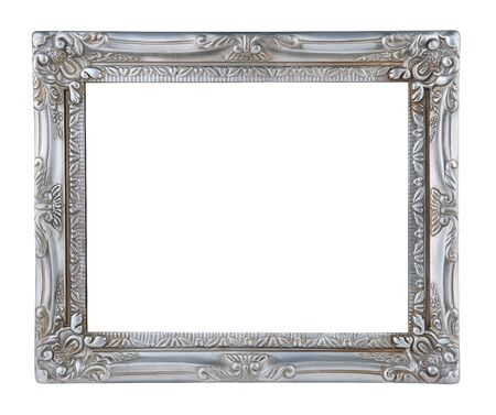antique silver frame isolated on white background 写真素材