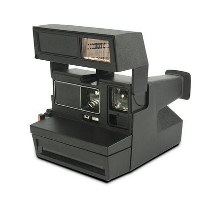 instant film camera on white background?