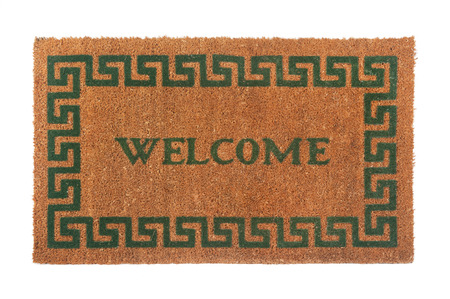 Welcome door mat isolated on a white background. Standard-Bild