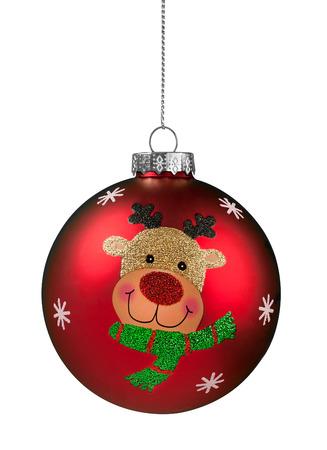 Rode Rendier Glitter Kerstbal geïsoleerd op wit