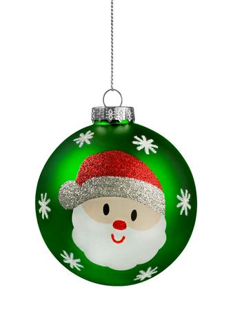 Green santa Glitter Christmas Ball isolated on white