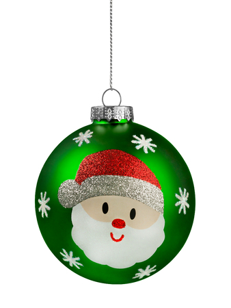 Groene Kerstmis Glitter Christmas Ball geïsoleerd op wit Stockfoto