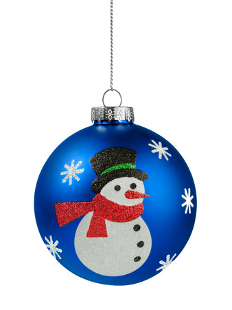 Snowman Christmas ball isolated on the white background 스톡 콘텐츠