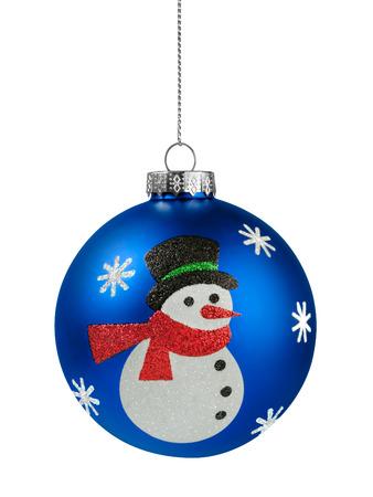 Sneeuwpop Kerstbal geïsoleerd op de witte achtergrond