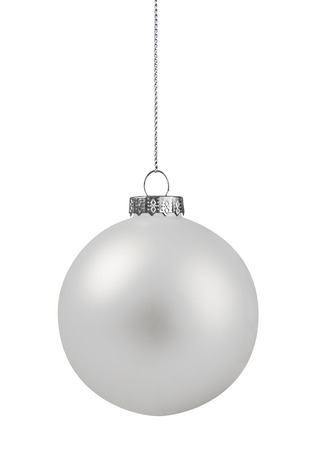 White christmas ball hanging on string, isolated on white