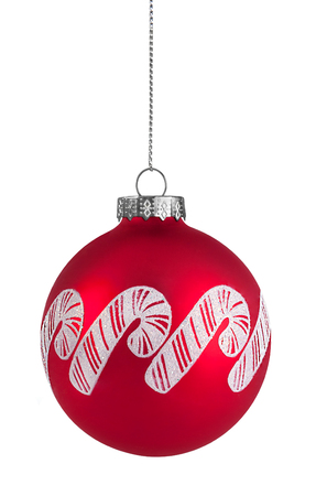 Red Candy cane christmas ball hanging on string, isolated on white 스톡 콘텐츠