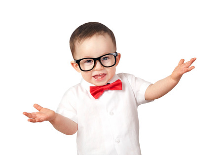 Little boy wearing glasses isolated on a white background