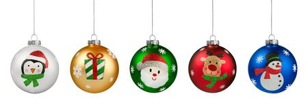 Group of Glitter Christmas Balls
