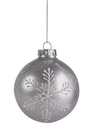 Zilveren Bal van Kerstmis Stockfoto