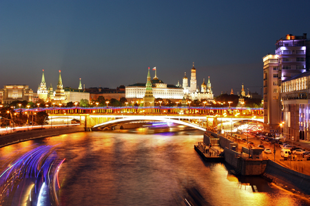 Night city view of Moscow river with Kemlin in the background, Russia photo