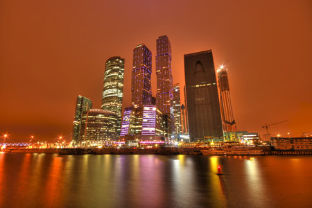 Moscow Business Center at night (HDR image) photo