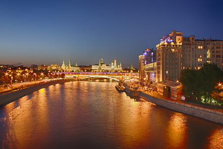moskva river: Night city view of Moscow, Russia with Kemlin in the background (HDR image) Stock Photo