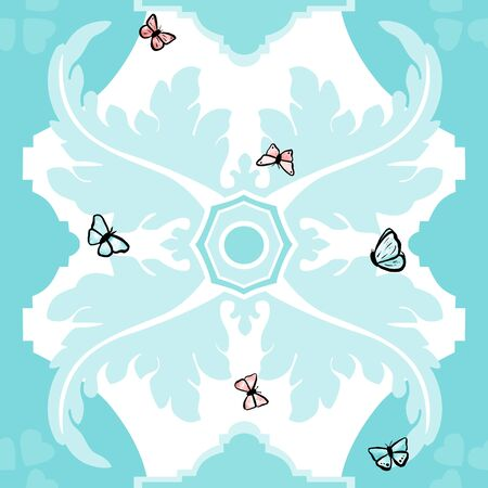 spanish style: A seamless vector pattern in traditional Spanish style, with stylized decorative shapes in white on a teal blue background, with watercolor butterflies Illustration