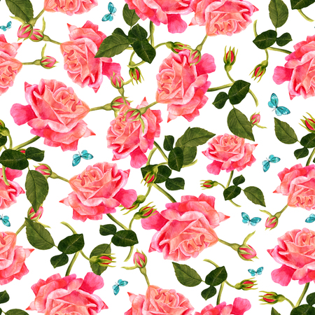 dusty: A seamless pattern with a watercolor drawing of a blooming red rose, with new buds and green leaves, with teal blue butterflies, hand painted on white background in the style of vintage botanical art