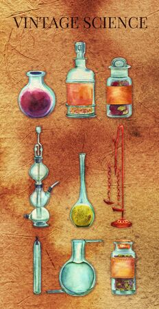 bottle of medicine: Vintage Science poster. A set of vintage chemistry objects: jars, bottles, containers, apparatuses. Hand painted in watercolours on old paper background. Scrapbook page or decorative poster